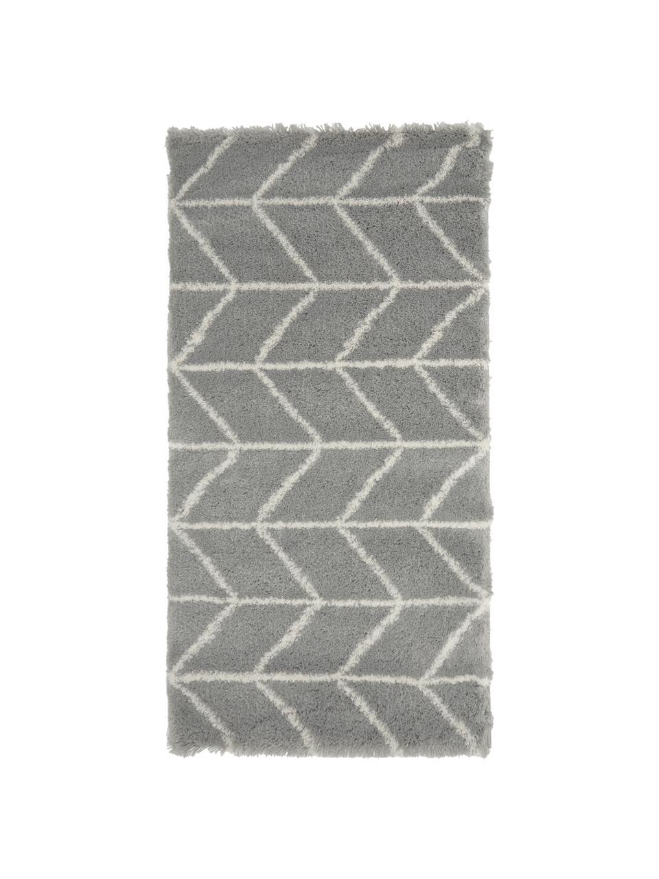 Flauschiger Hochflor-Teppich Cera in Grau/Cremeweiß, Flor: 100% Polypropylen, Grau, Cremeweiß, B 200 x L 300 cm (Größe L)