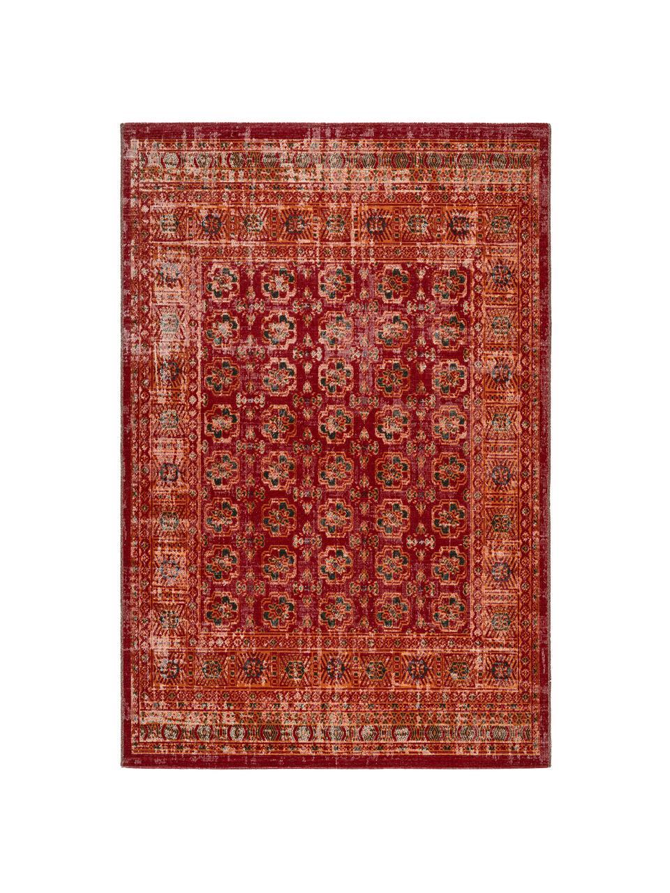 Dywan wewnętrzny/zewnętrzny Tilas, 100% polipropylen, Czerwony, pomarańczowy, antracytowy, S 80 x D 150 cm (Rozmiar XS)