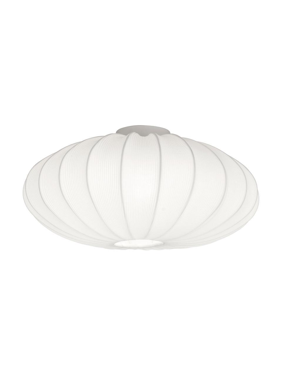Deckenleuchte Mamsell aus Stoff, Lampenschirm: 60 % Polyester, 40 % Rayo, Baldachin: Metall, Weiß, Ø 55 x H 28 cm