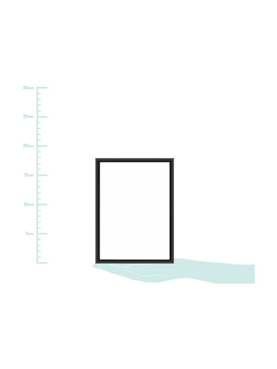 Cornice nera opaca Accent, Cornice: alluminio rivestito, Retro: Pannello di fibra a media, Nero, 15 x 20 cm