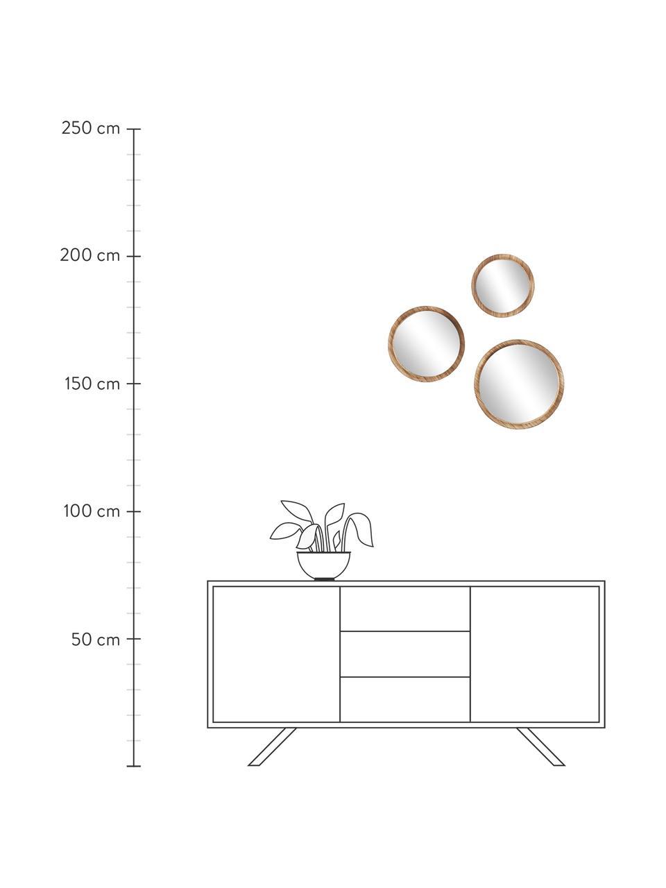 Wandspiegelset Jones, 3-delig, Lijst: paulowniahout, Bruin, Set met verschillende formaten