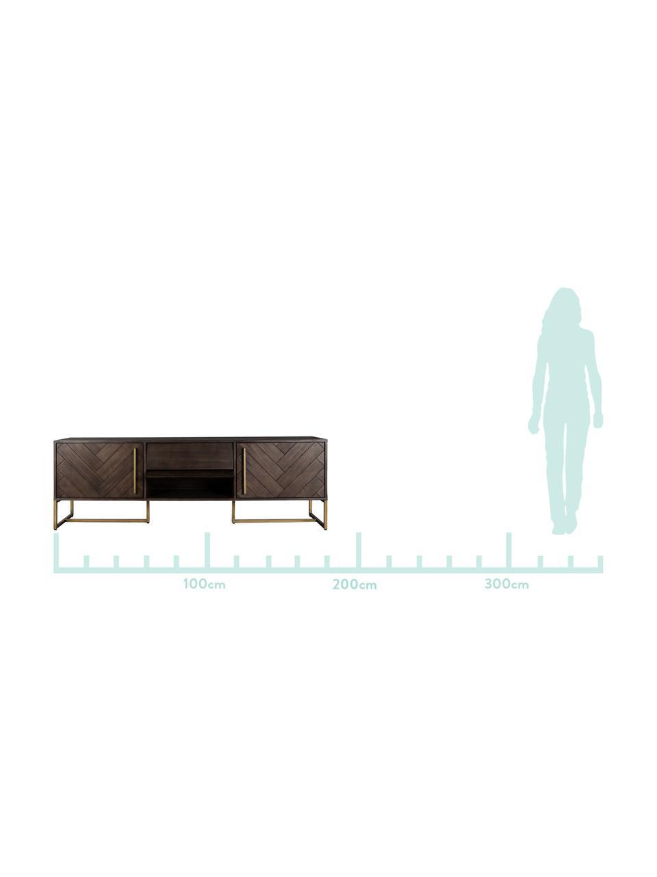 Aparador en acacia Class, Estructura: Tablero de fibra de densi, Marrón, latón, An 180 x Al 60