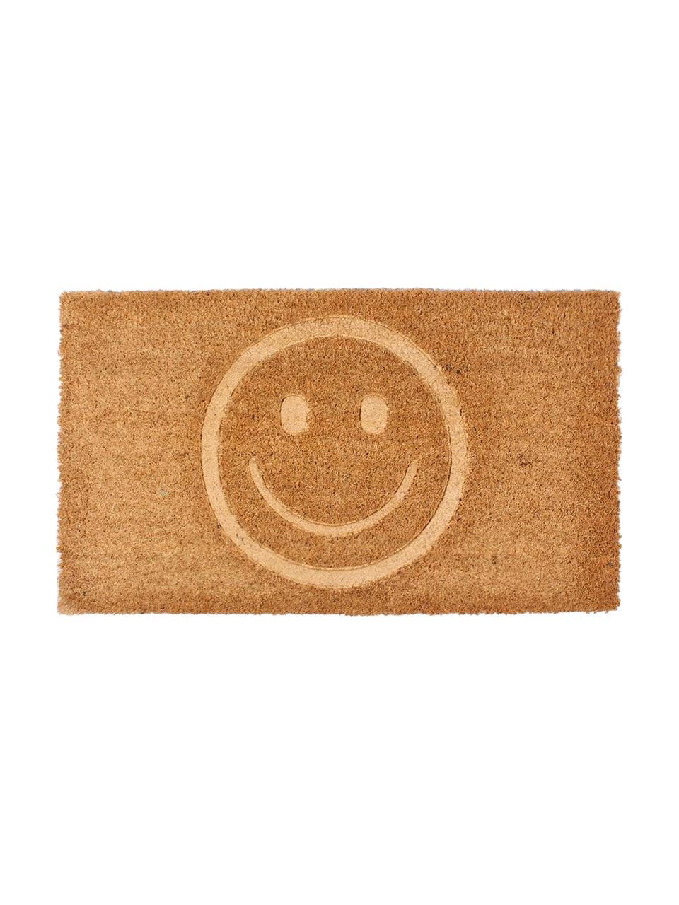 Fußmatte Smile, Oberseite: Kokosfaser, Unterseite: PVC, Braun, 40 x 70 cm