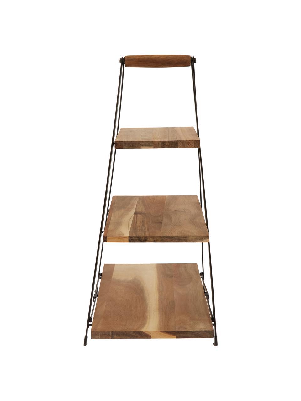 Etagere Serve, Ripiani: legno d'acacia, Struttura: metallo, verniciato, Marrone, Larg. 30 x Alt. 55 cm