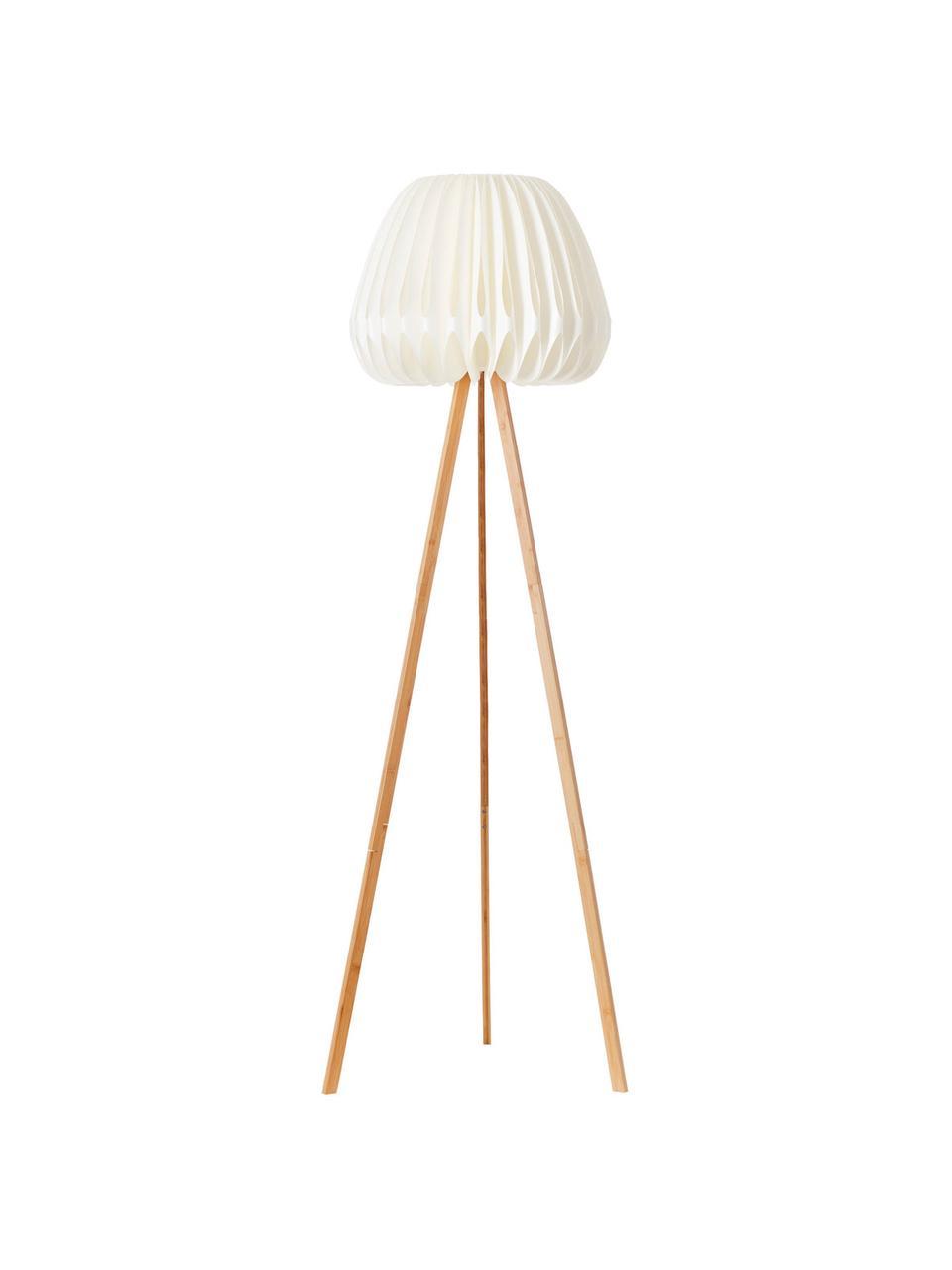 Lampadaire trépied en bambou Inna, Blanc, bambou