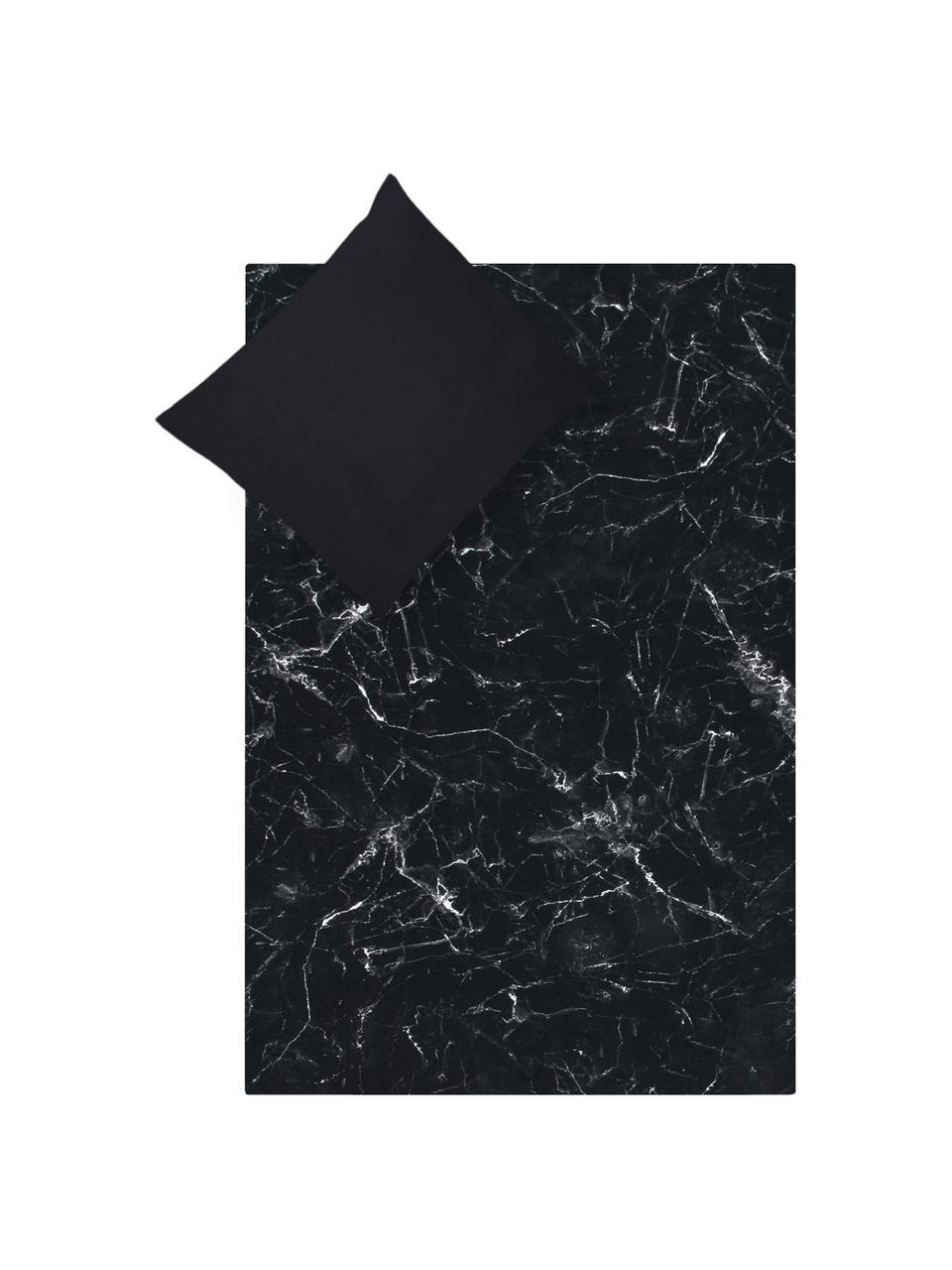 Dubbelzijdig dekbedovertrek Malin, Weeftechniek: perkal Draaddichtheid 200, Zwart, wit, 140 x 200 cm