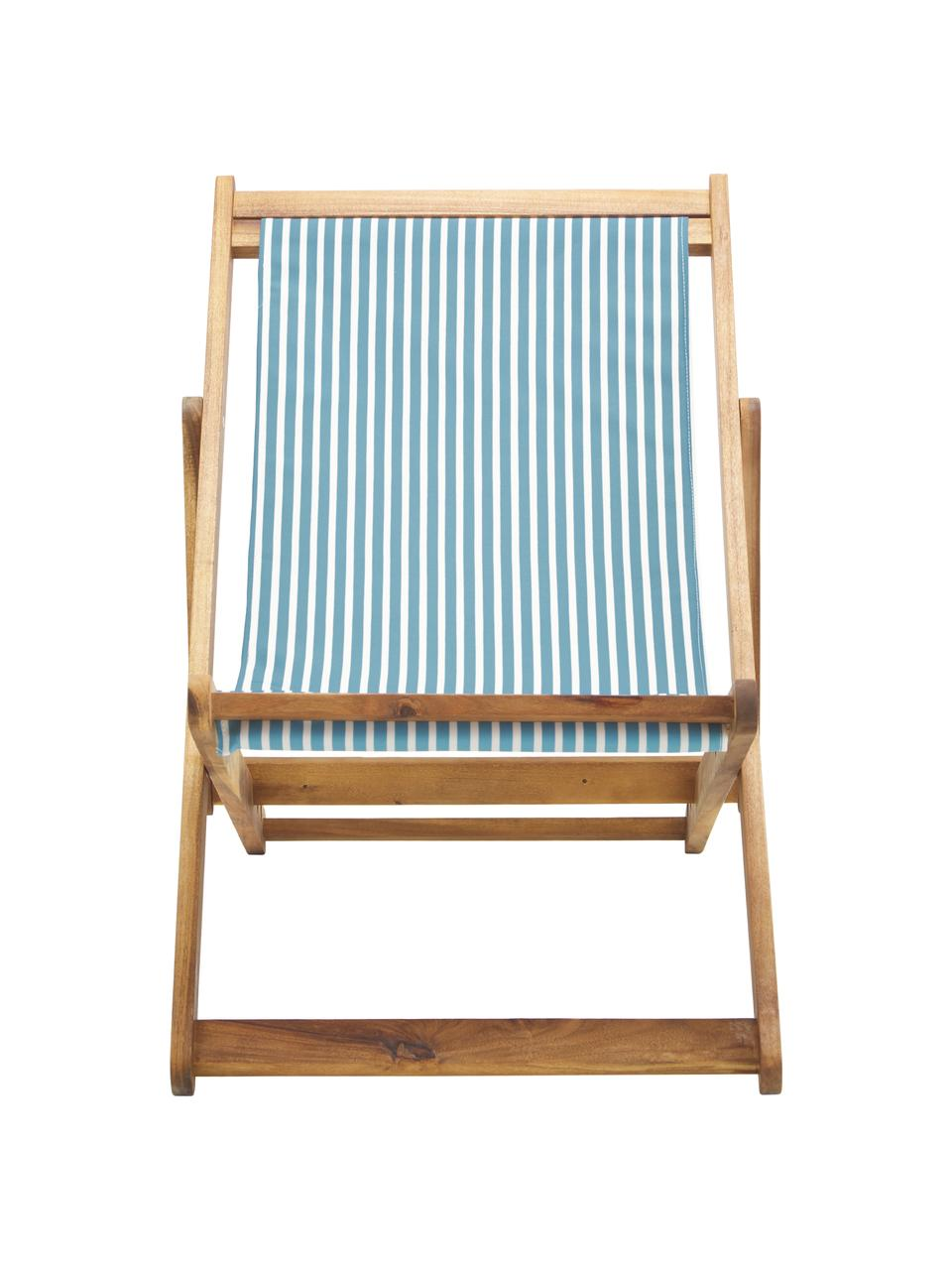 Klappbarer Liegestuhl Zoe, Gestell: Massives Akazienholz, geö, Weiß,Blau, B 59 x T 84 cm