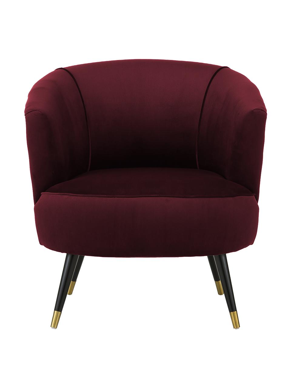 Fauteuil cocktail en velours rouge Ella, Pourpre