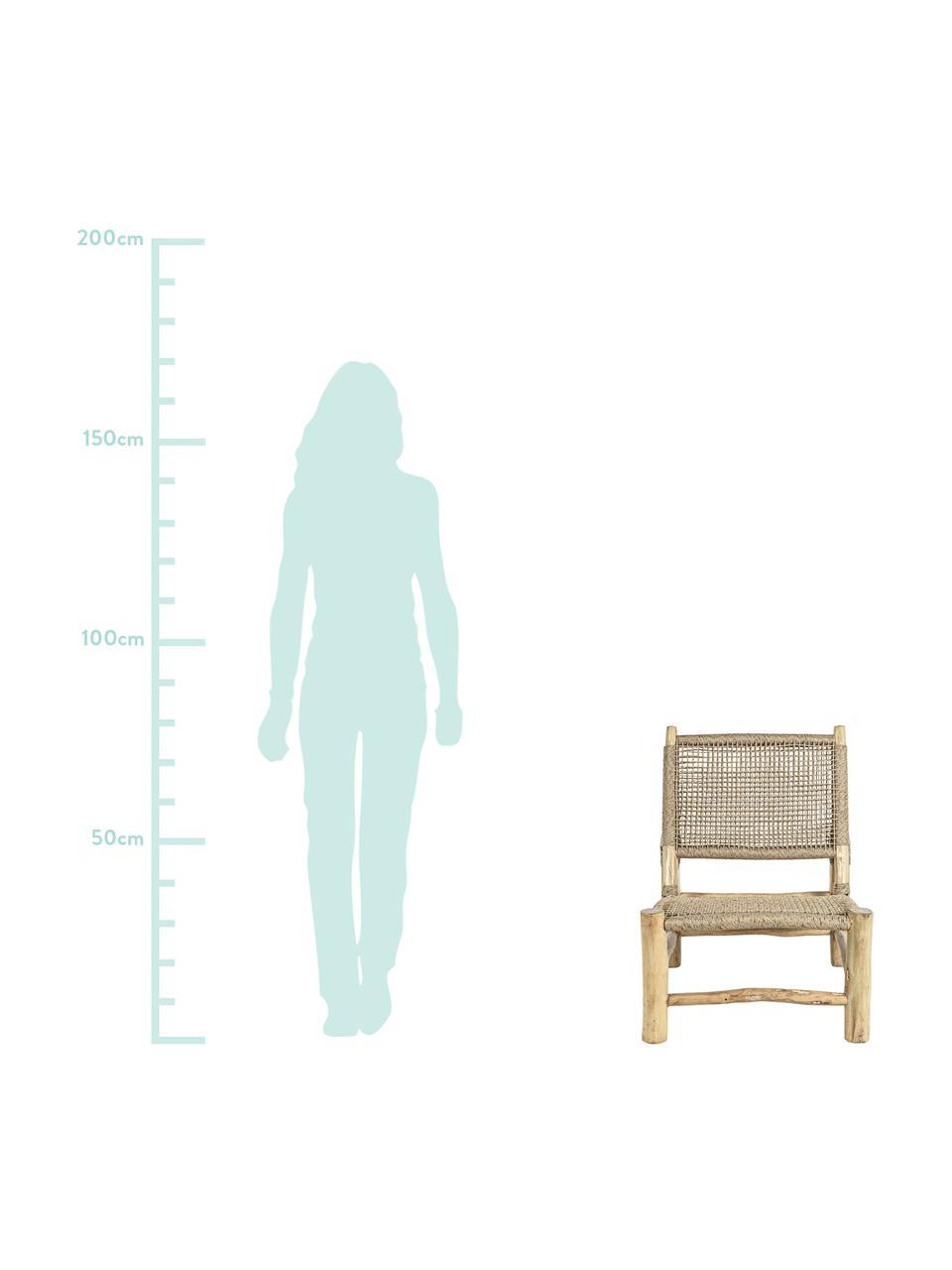 Teakhouten loungefauteuil Lampok, Frame: teakhout, Beige, 62 x 79 cm