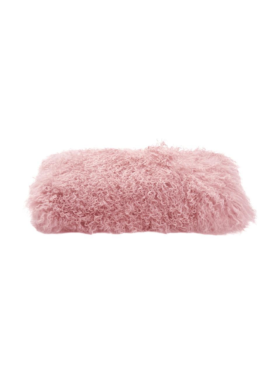 Kussenhoes van langharige schapenvacht Ella, gekruld, Roze, 30 x 50 cm
