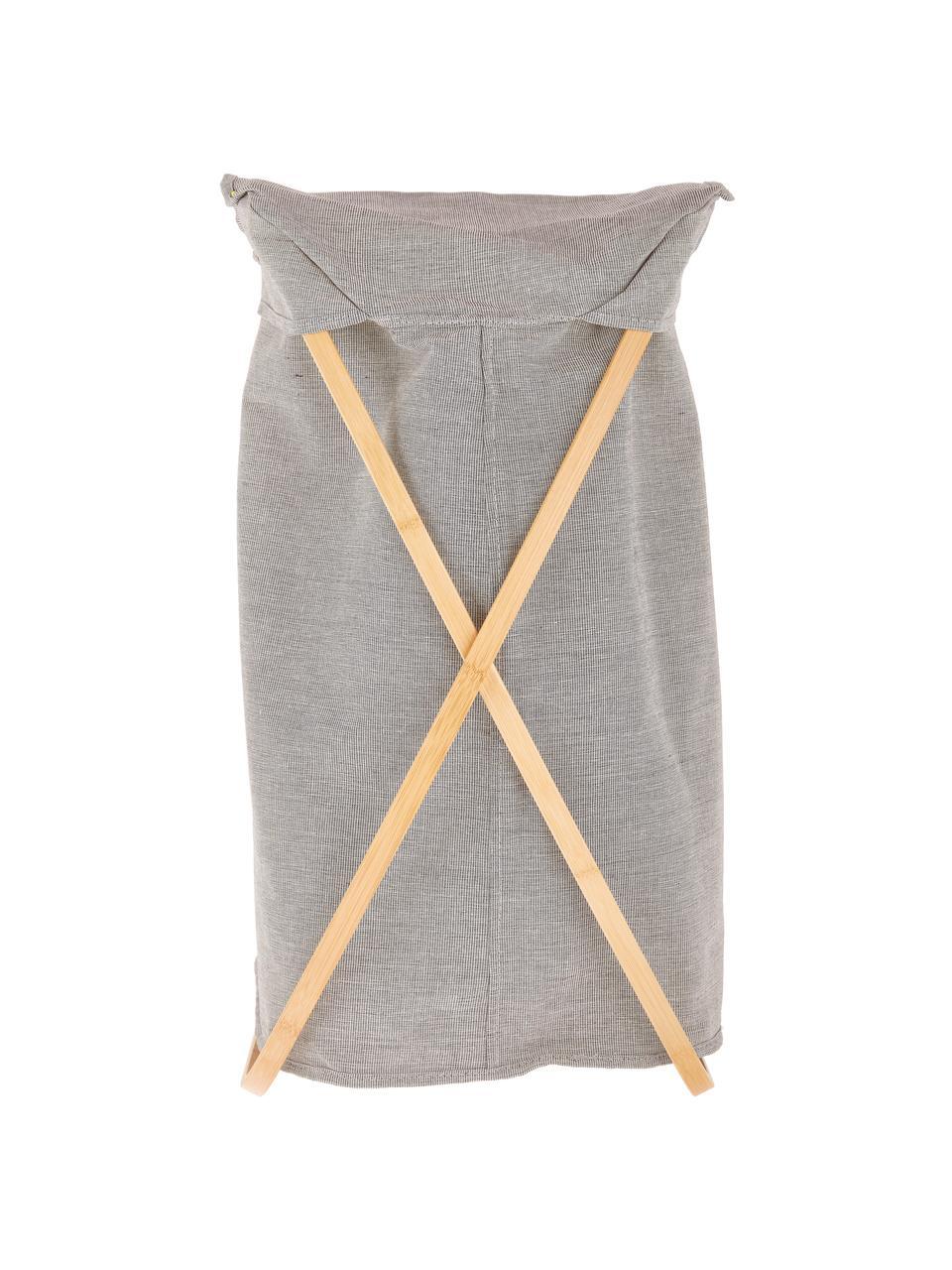 Wäschekorb Maya, Gestell: Bambus, Wäschekorb: HellgrauGestell: Beige, 39 x 66 cm