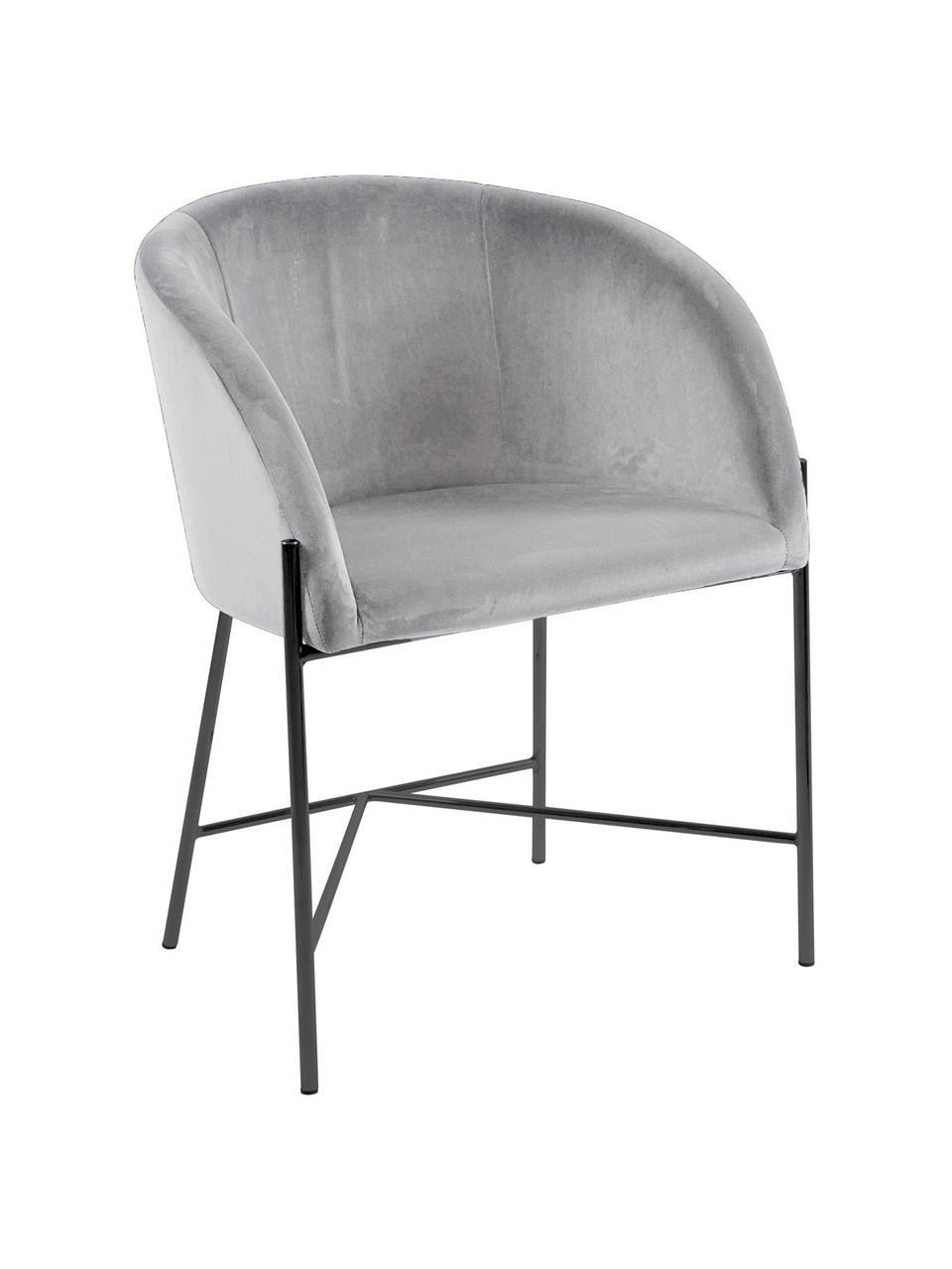 Sedia con braccioli in velluto Nelson, Rivestimento: velluto di poliestere Con, Gambe: metallo, laccato, Grigio, nero, Larg. 56 x Prof. 55 cm