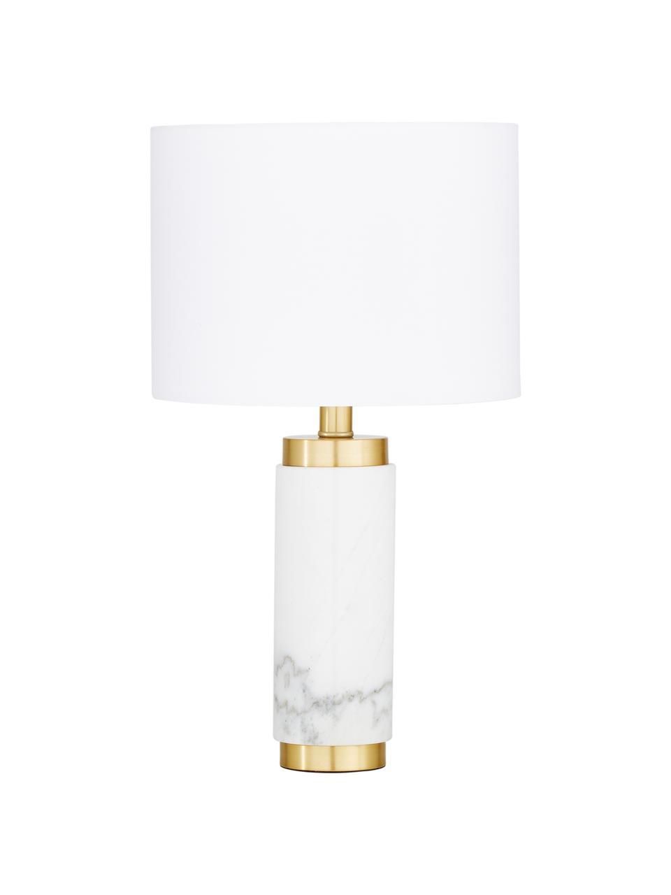 Marmeren tafellamp Miranda, Lampenkap: textiel, Lampvoet: marmer, geborsteld messin, Wit, messingkleurig, Ø 28 x H 48 cm