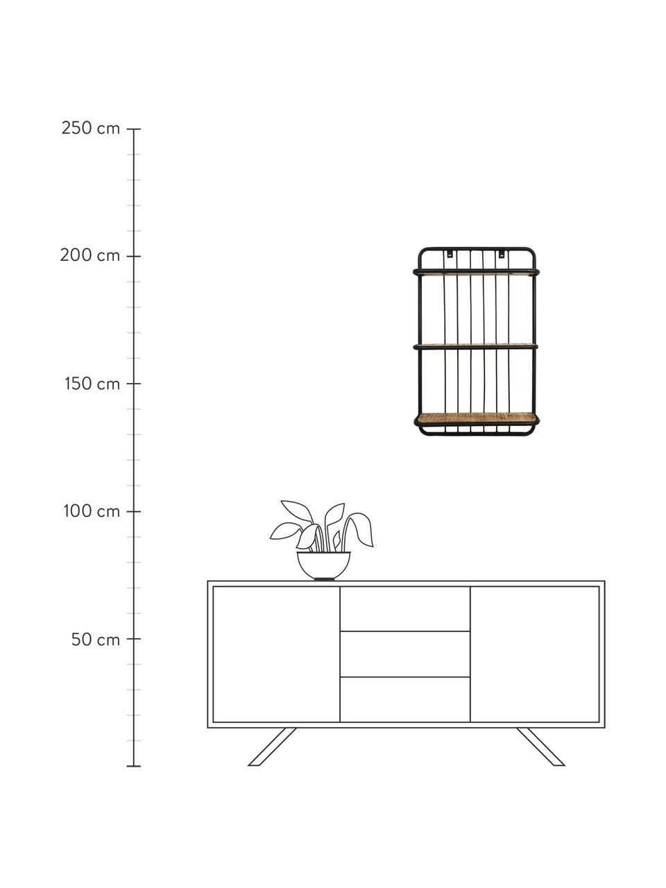 Wandregal Hilly im Industrial Design, Gestell: Metall, pulverbeschichtet, Braun, Schwarz, 50 x 80 cm