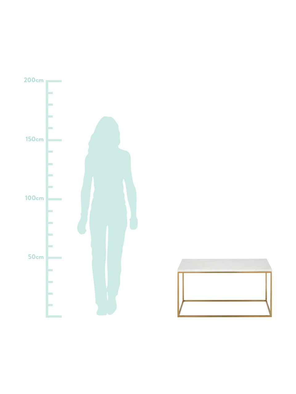 Tavolino da salotto con piano in marmo Alys, Piano d'appoggio: pietra naturale di marmo, Struttura: metallo verniciato a polv, Piano d'appoggio: marmo bianco-grigio Struttura: dorato lucido, Larg. 80 x Alt. 40 cm