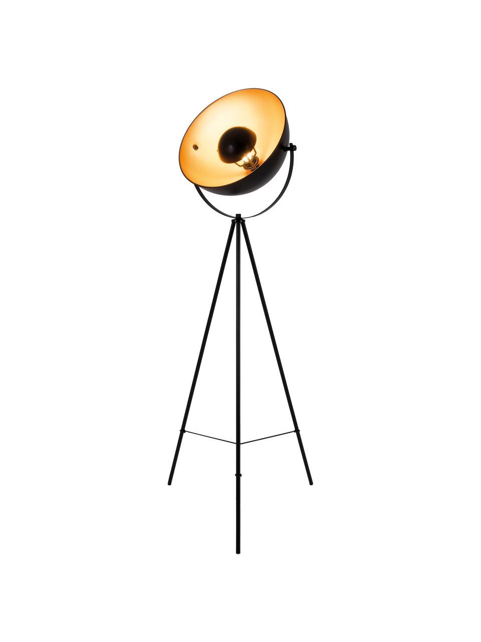 Lampa podłogowa Bernice, Korpus: drewno jesionowe, czarny lakierowany Noga: odcienie złotego, S 40 x W 150 cm