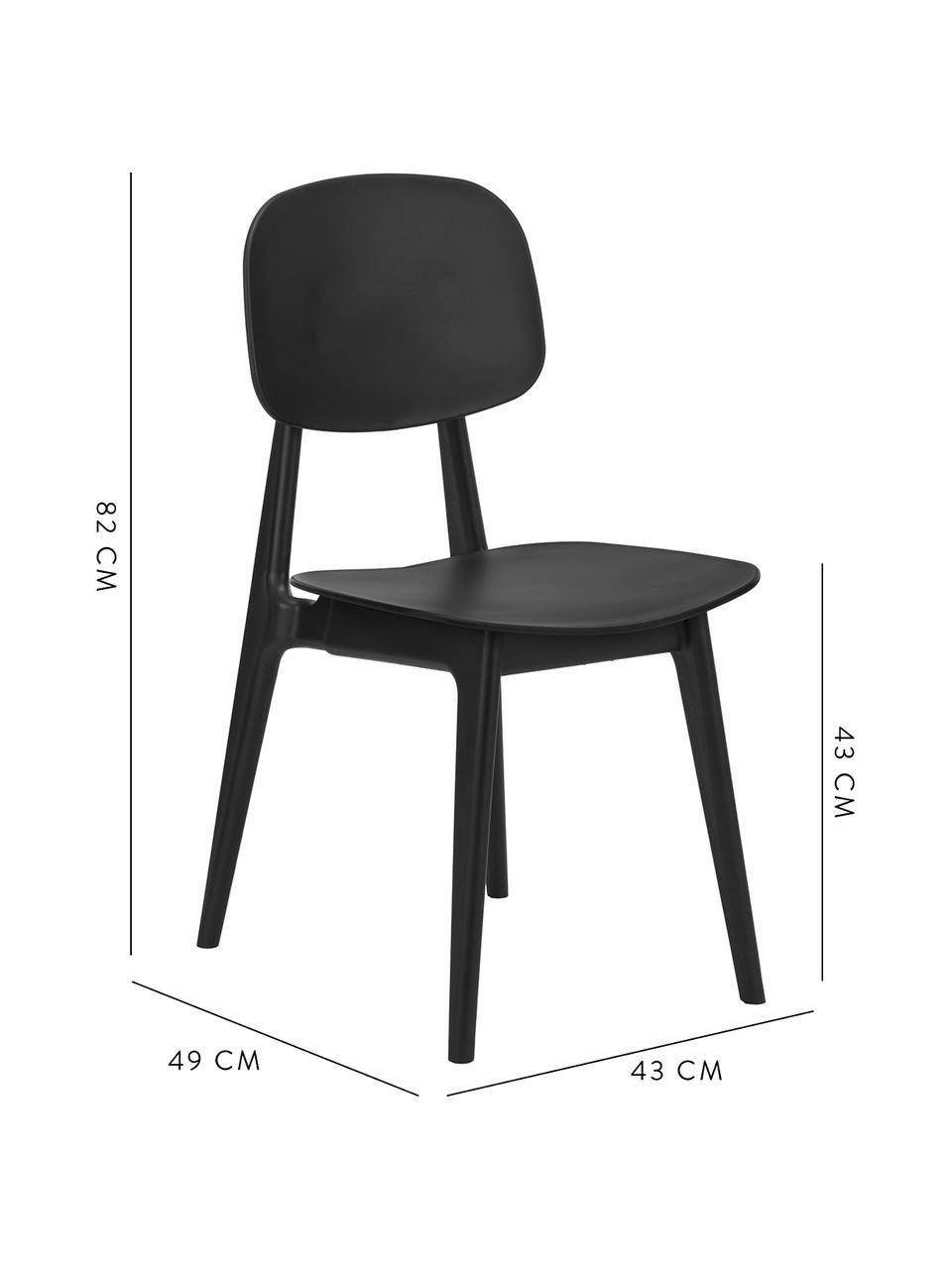 Kunststoff-Stühle Smilla, 2 Stück, Sitzfläche: Kunststoff, Beine: Kunststoff, Schwarz, matt, B 43 x T 49 cm