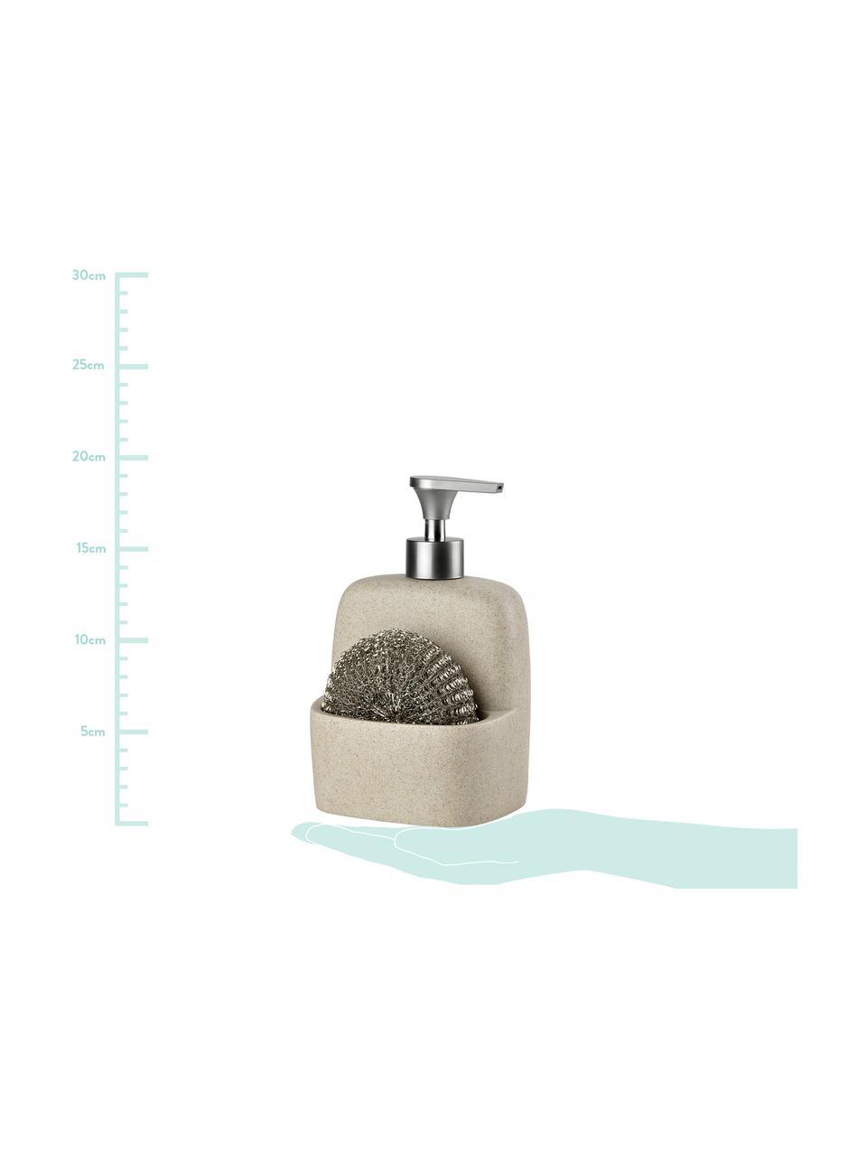 Dosatore di sapone Sand, set di 2, Beige, argentato, Larg. 11 x Alt. 19 cm