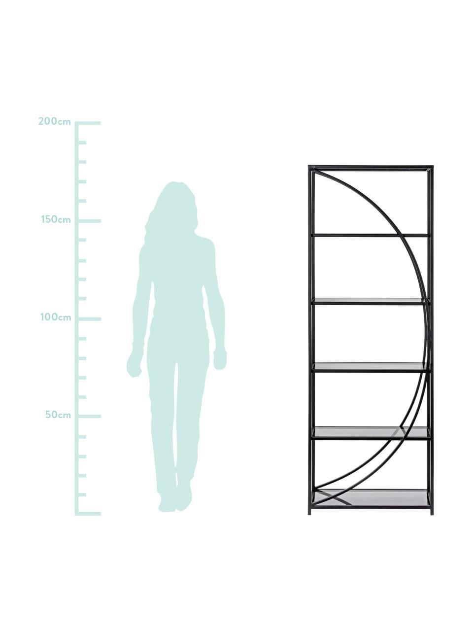 Metall-Standregal Korvet in Schwarz, Gestell: Metall, epoxidiert und pu, Einlegeböden: Glas, Schwarz, Grau, transparent, 61 x 178 cm
