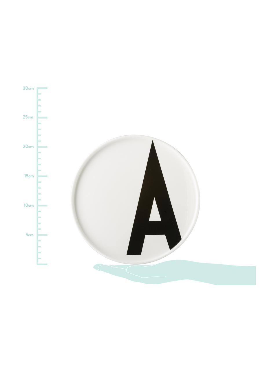 Design Frühstücksteller Personal mit Buchstaben (Varianten von A bis Z), Fine Bone China (Porzellan) Fine Bone China ist ein Weichporzellan, das sich besonders durch seinen strahlenden, durchscheinenden Glanz auszeichnet., Weiß, Schwarz, Teller A