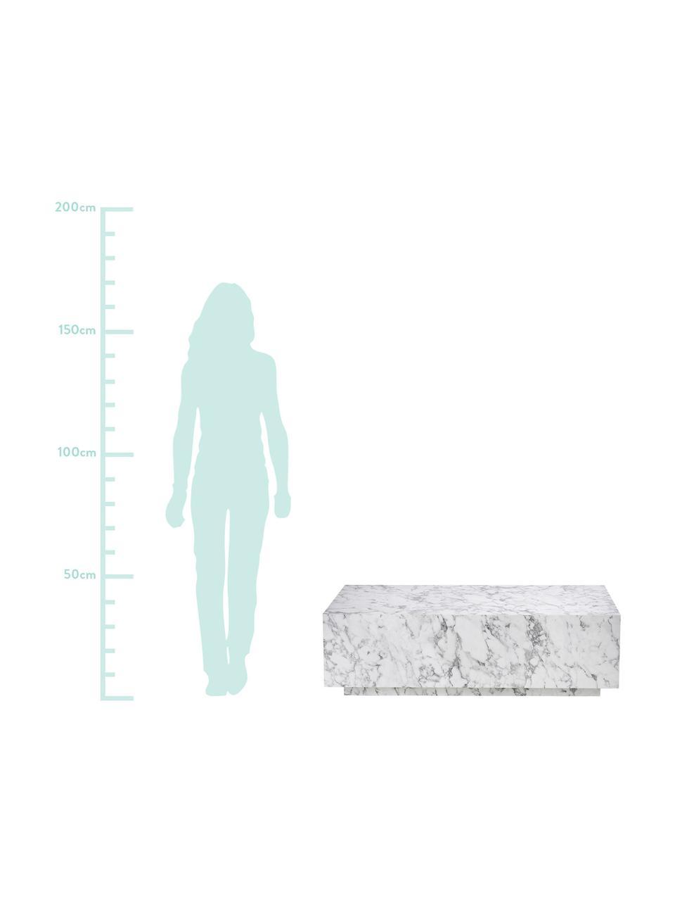 Schwebender Couchtisch Lesley in Marmor-Optik, Mitteldichte Holzfaserplatte (MDF), mit Melaminfolie überzogen, Weiß, marmoriert, 120 x 35 cm