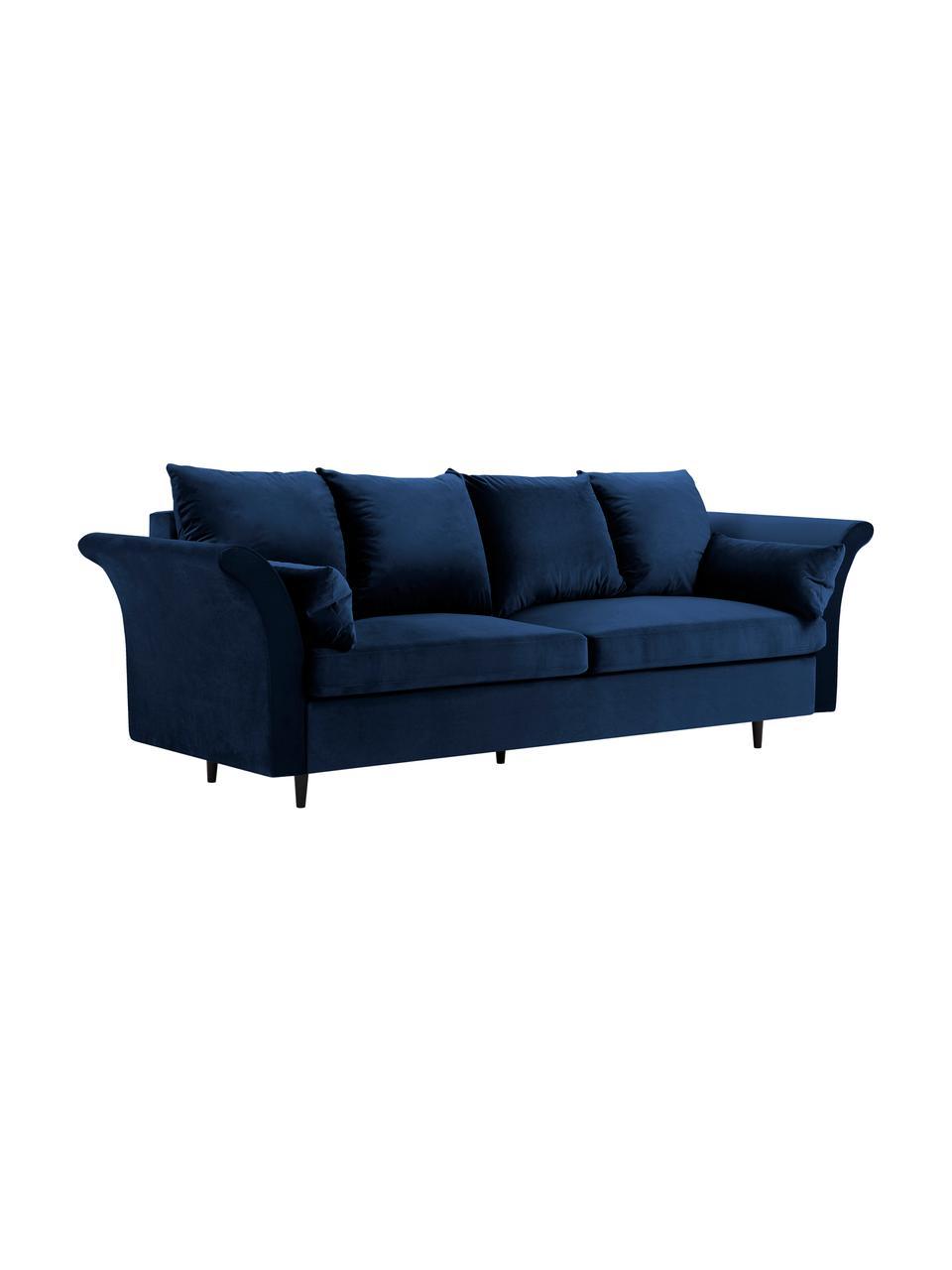 Sofa rozkładana z aksamitu z miejscem do przechowywania Lola (3-osobowa), Tapicerka: aksamit poliestrowy, Nogi: drewno sosnowe, lakierowa, Ciemny niebieski, S 245 x G 95 cm