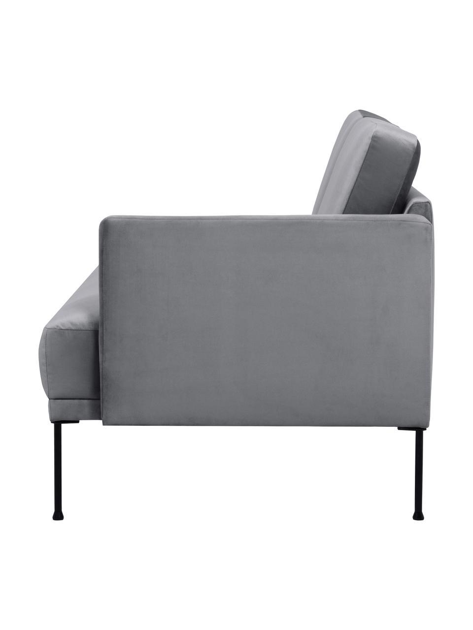 Fluwelen chaise longue Fluente in donkergrijs met metalen poten, Bekleding: fluweel (hoogwaardig poly, Frame: massief grenenhout, Poten: gepoedercoat metaal, Fluweel bruingrijs, B 202 x D 85 cm
