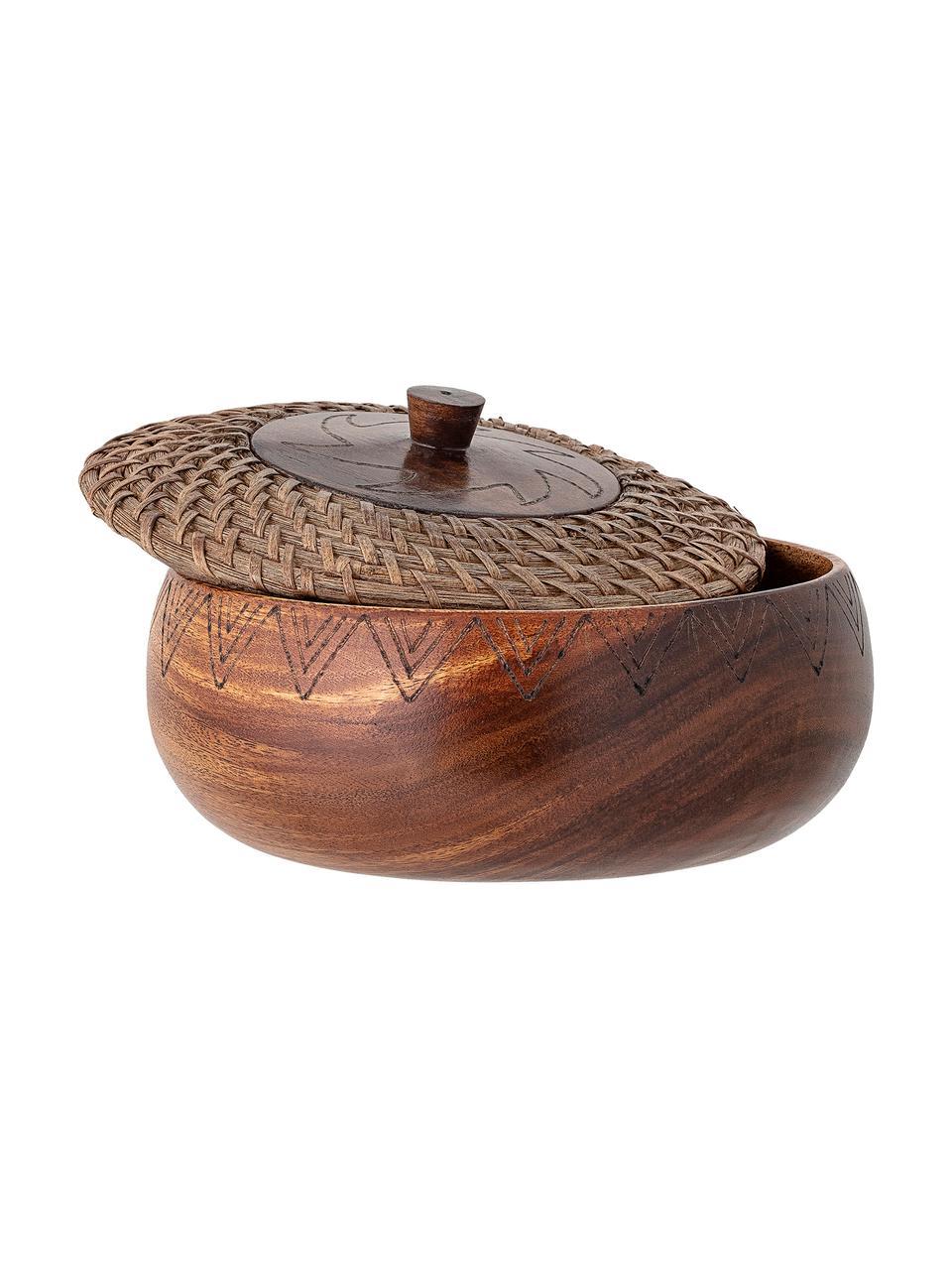 Duża miska z drewna akcjowego Femke, Drewno akacjowe, olejowany, rattan, Brązowy, Ø 24 cm x W 10 cm