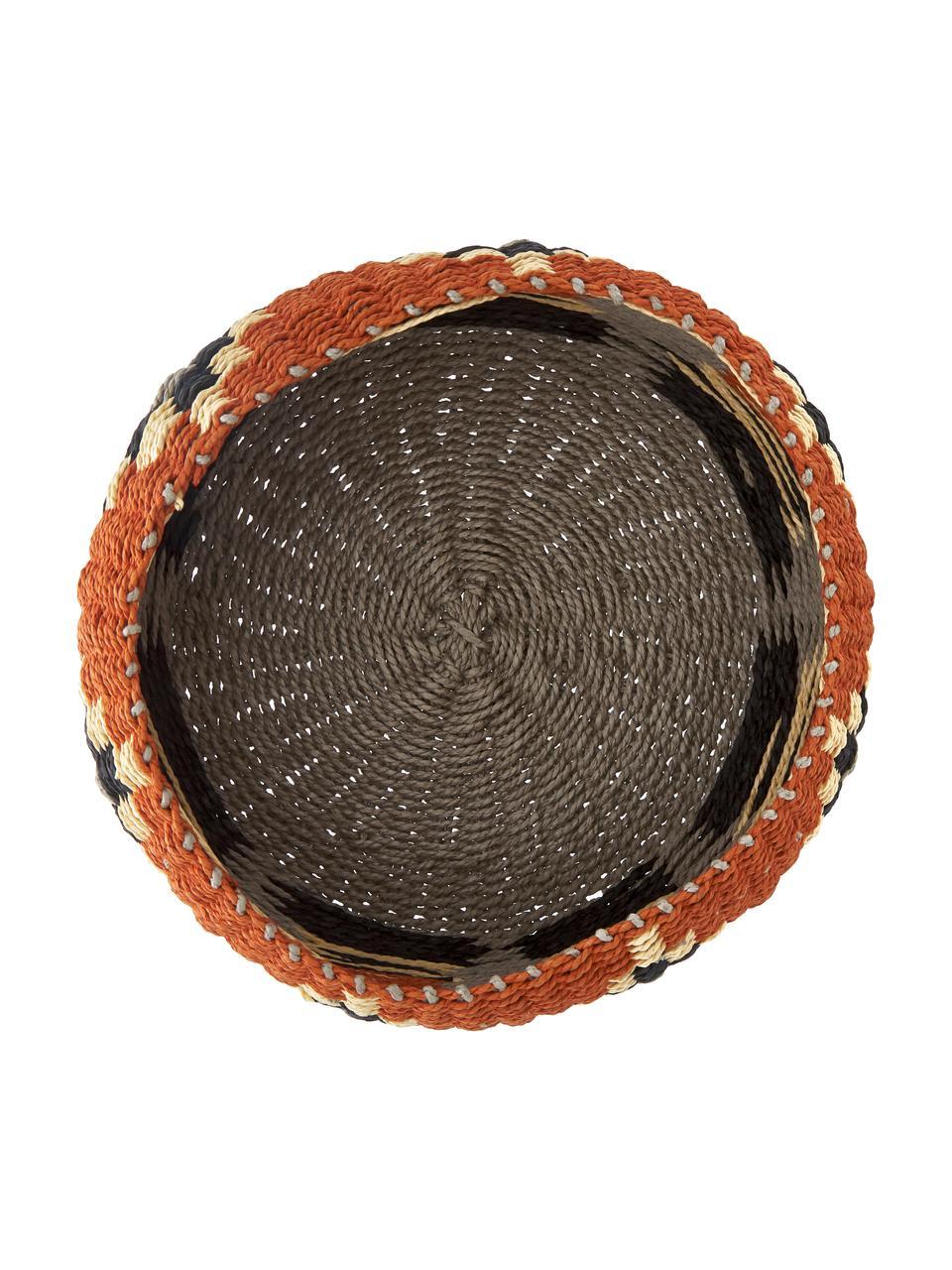 Aufbewahrungskorb Matta aus festem Papier, Festes Papier, geflochten, Rostrot, Grau, Beige, Ø 27 x H 12 cm