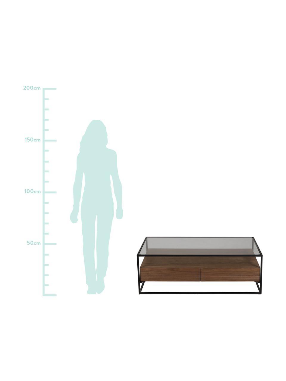 Tavolino da salotto con cassetti Helix, Struttura: metallo verniciato a polv, Base e piano d'appoggio: vetro, Nero, marrone, Larg. 120 x Alt. 40 cm