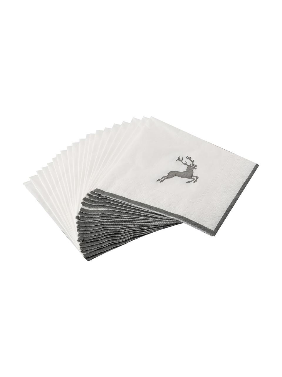Serwetka z papieru Grauer Hirsch, 20 szt., Papier, Szary, biały, S 33 x D 33 cm
