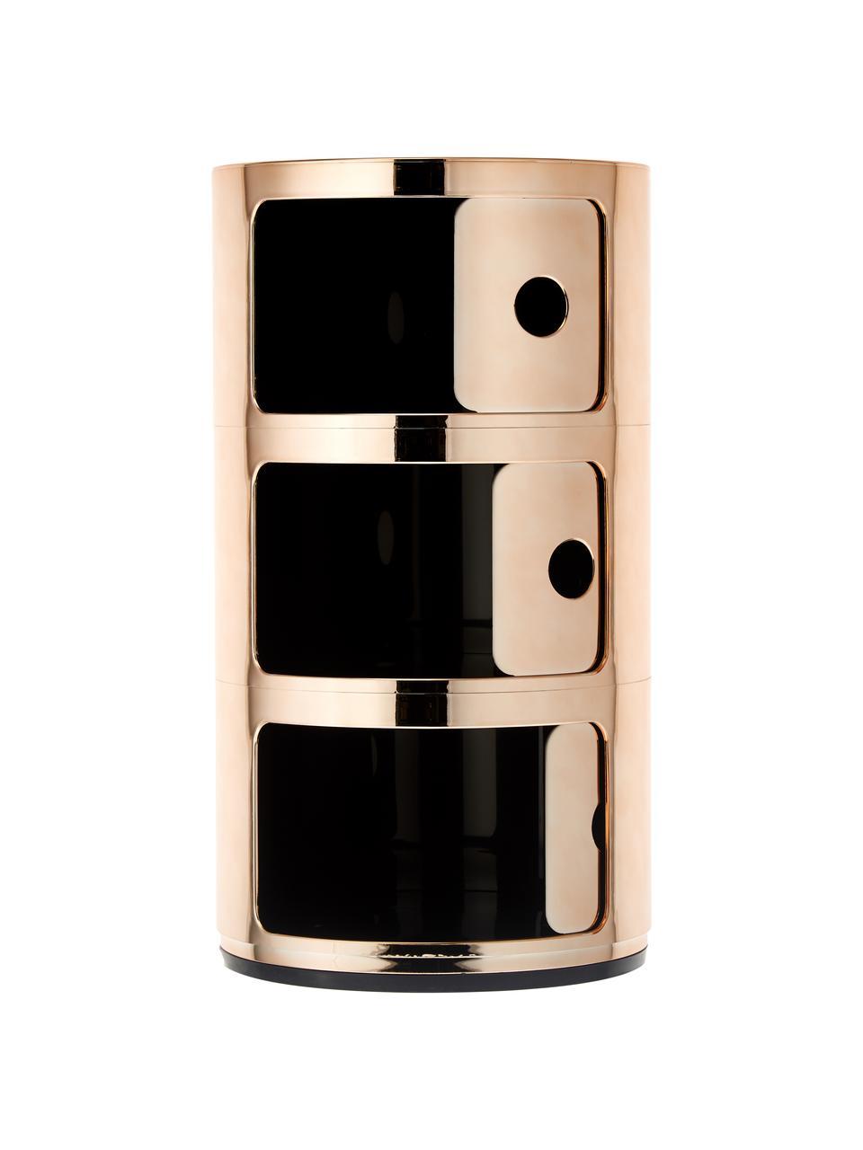 Comodino di design con cassetti Componibile, Materiale sintetico rivestita in metallo, Oro, Ø 32 x Alt. 59 cm