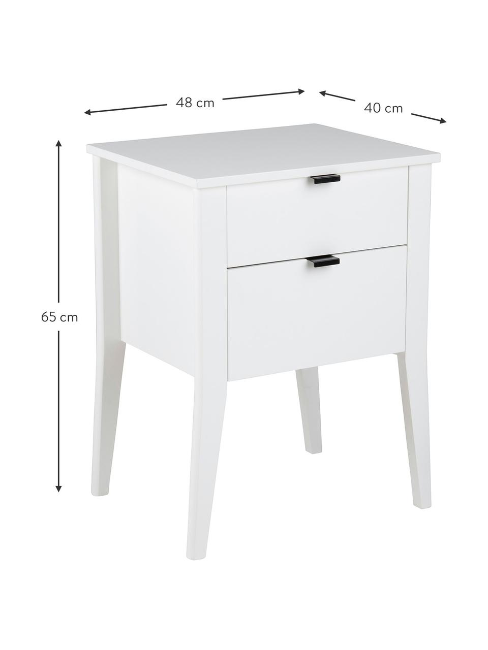 Table de chevet blanche avec 2 tiroirs Sleepy, Blanc