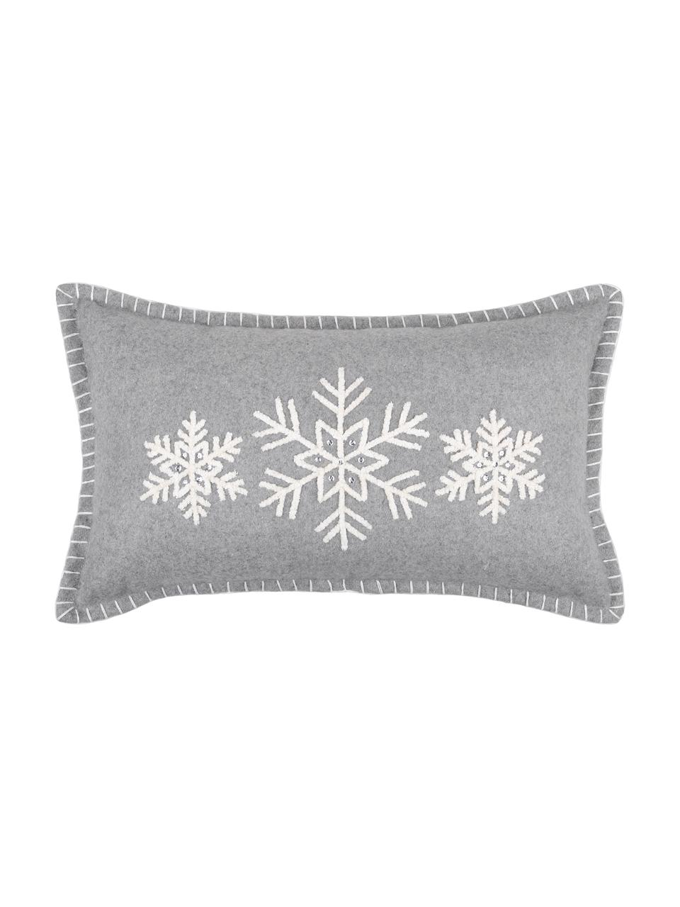 Cojín Vaujany, con relleno, Funda: 50%algodón, 32%lana, 7%, Gris, An 30 x L 50 cm