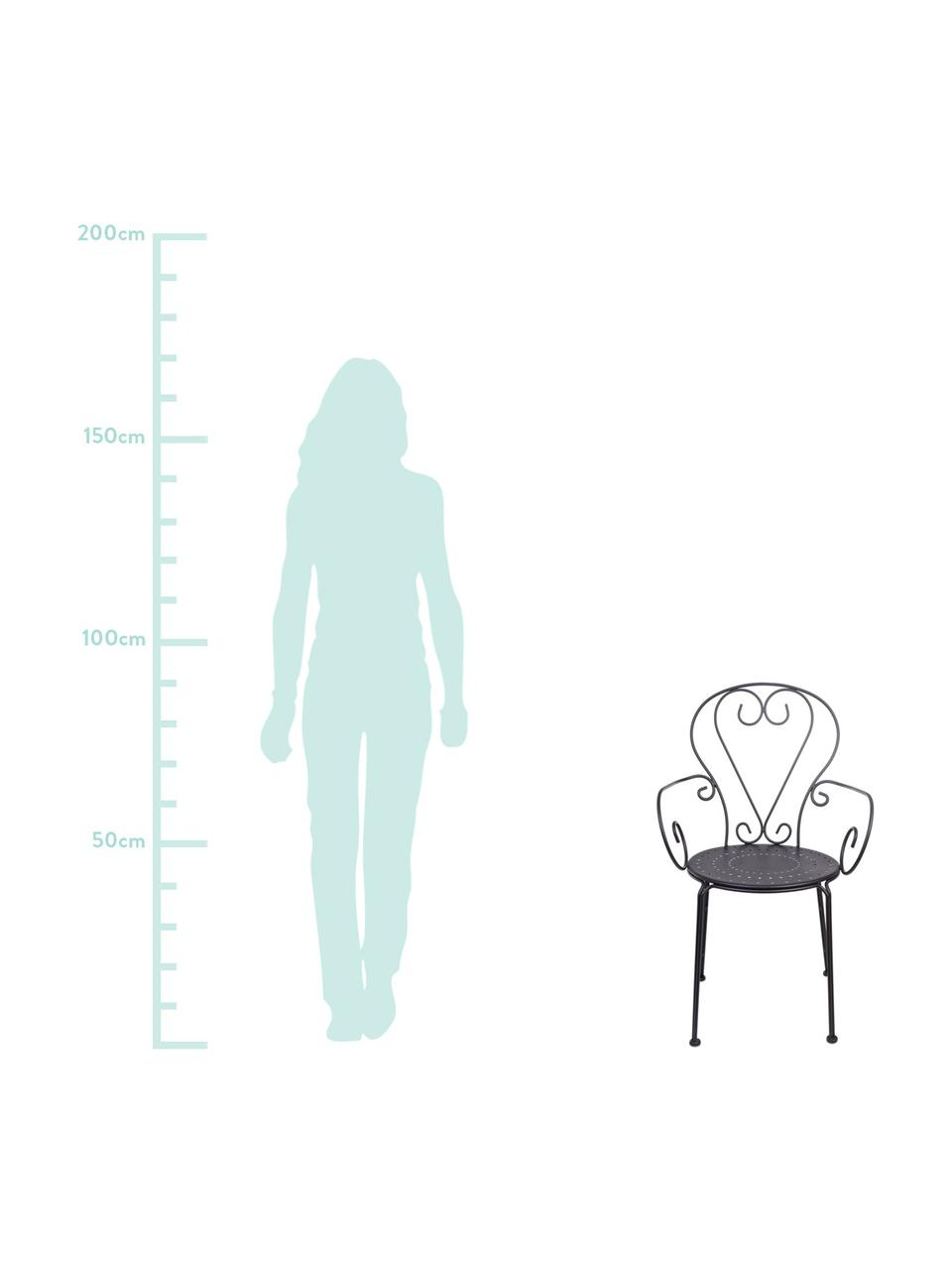 Sedia con braccioli da giardino Etienne 2 pz, Grigio scuro, Larg. 49 x Alt. 89 cm