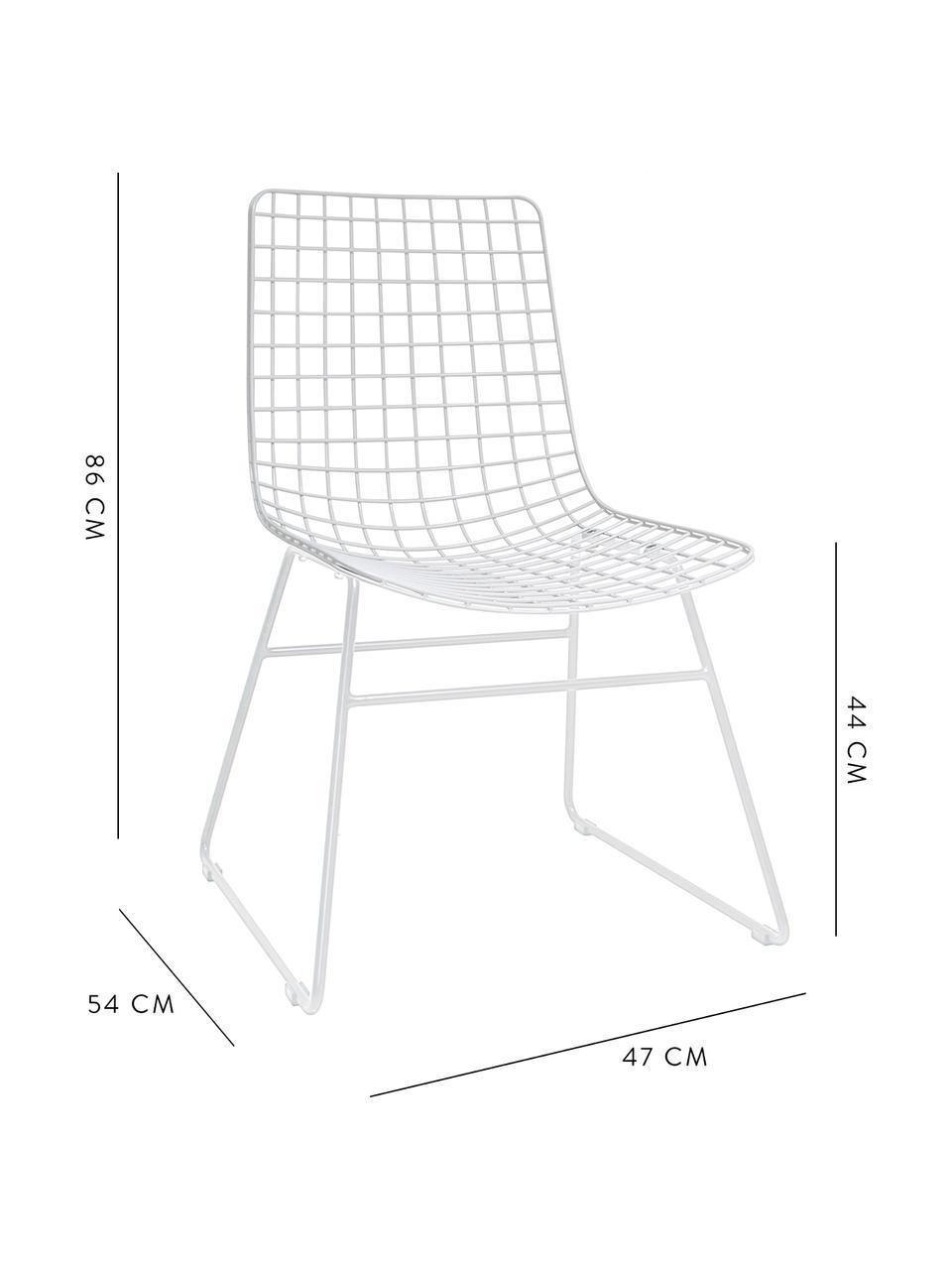 Sedia in metallo bianco Wire, Metallo verniciato a polvere, Bianco, Larg. 47 x Prof. 54 cm
