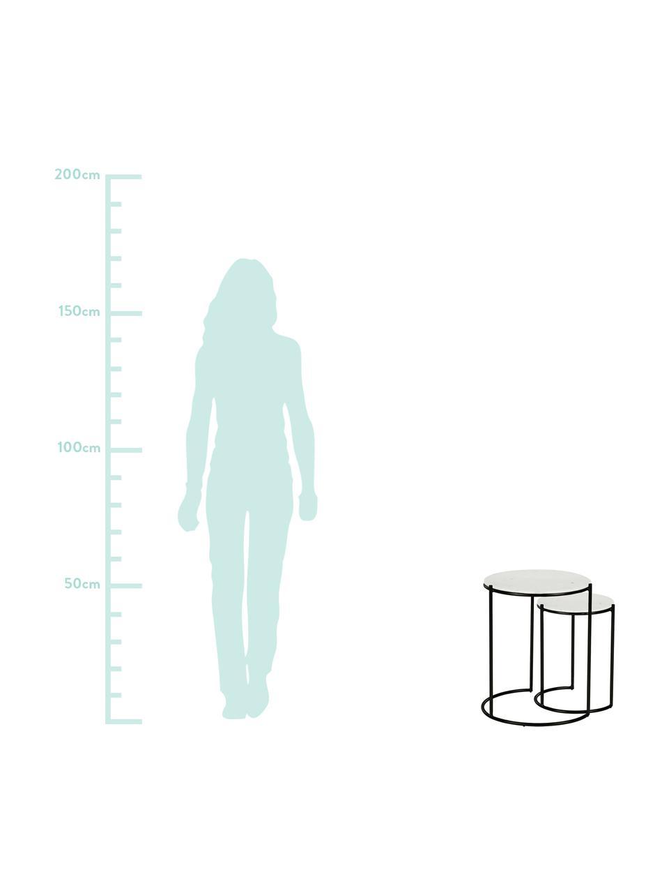 Komplet stolików pomocniczych z marmuru Ella, Blat: marmur, Stelaż: metal malowany proszkowo, Blat: biały marmur Stelaż: czarny, matowy, Komplet z różnymi rozmiarami