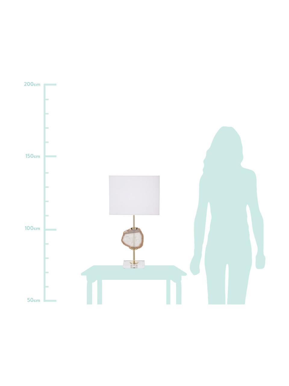 Große Glam-Tischlampe Treasure mit Achat-Dekor, Lampenschirm: Baumwollgemisch, Lampenfuß: Acryl, Metall, Dekor: Achatstein, Transparent, Goldfarben, Beiger AchatLampenschirm: Weiß, 33 x 62 cm