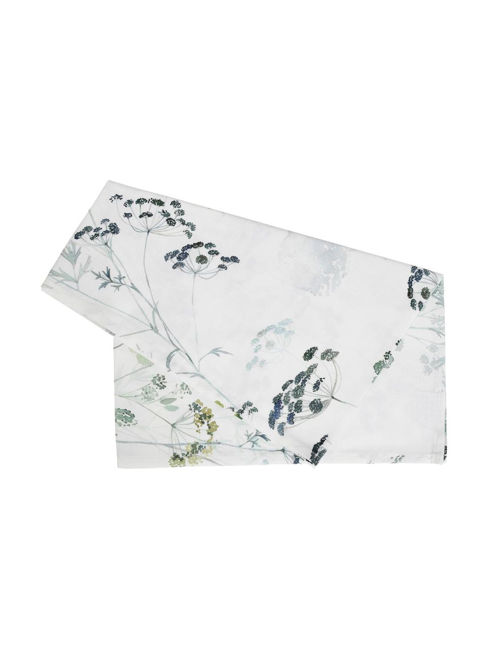 Runner in cotone con motivo floreale Herbier, 100% cotone, Bianco, verde, Larg. 50 x Lung. 160 cm