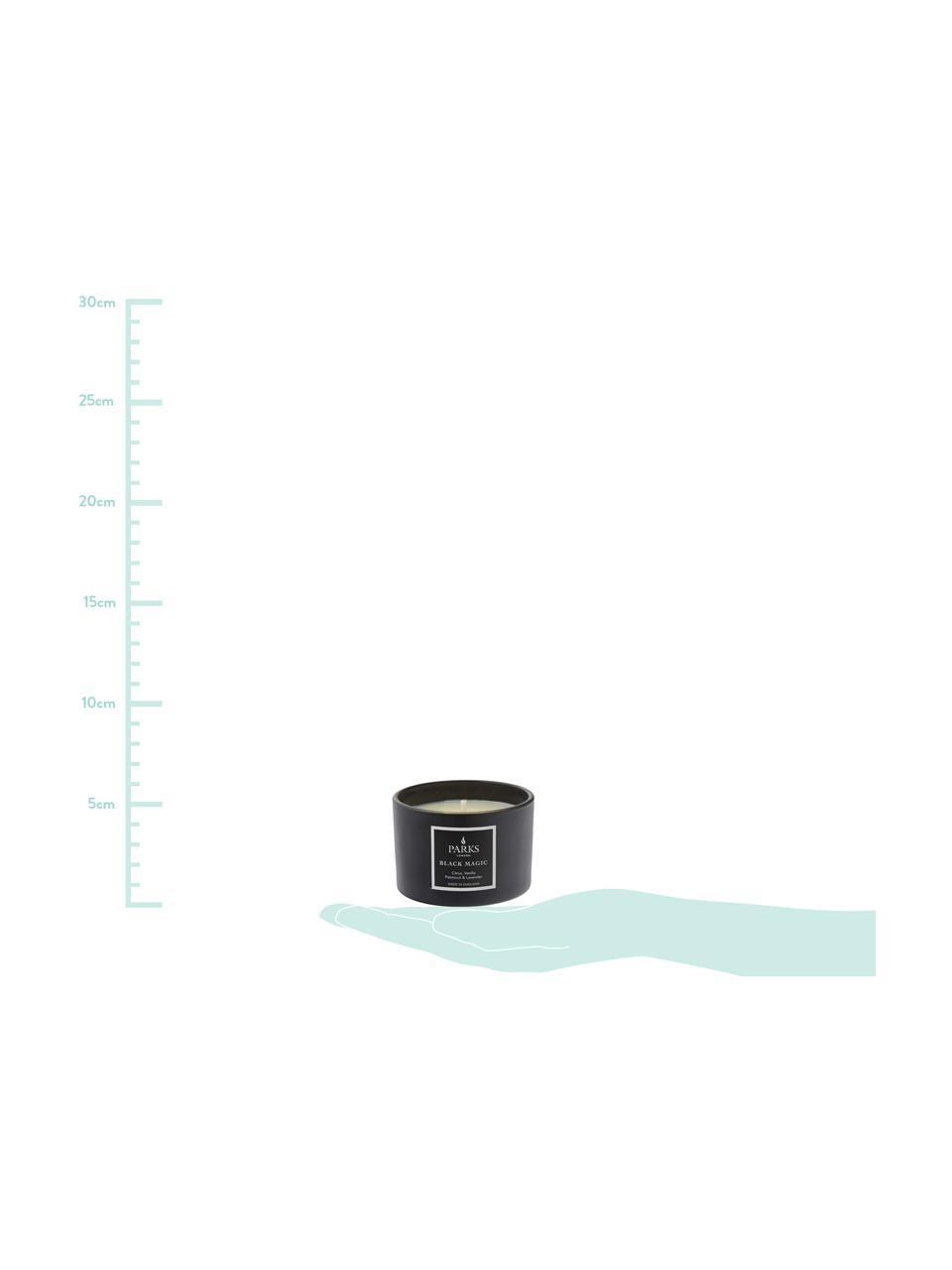Świeca zapachowa Black Magic (wanilia, paczula & lawenda), Czarny, biały, Ø 7 x W 5 cm