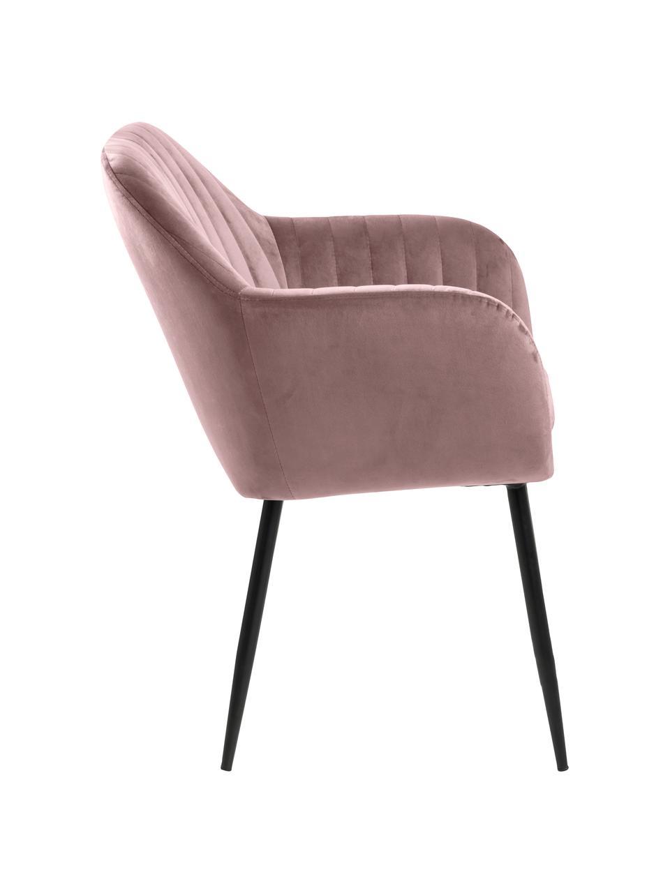 Krzesło tapicerowane z aksamitu Emilia, Tapicerka: aksamit poliestrowy Dzięk, Nogi: metal lakierowany, Aksamit blady różowy, nogi: czarny, S 57 x G 59 cm