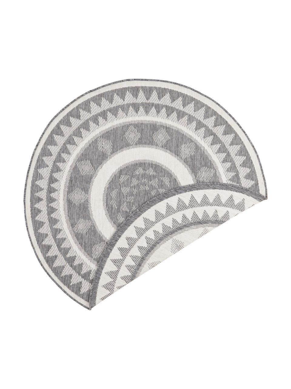 Rond dubbelzijdig in- en outdoor vloerkleed Jamaica in grijs/crème kleur, Grijs, crèmekleurig, Ø 200 cm (maat L)