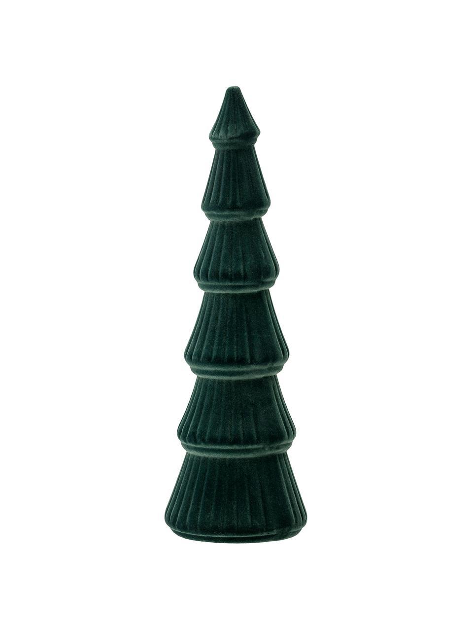 Samt-Deko-Objekt Tree, Mitteldichte Holzfaserplatte (MDF), Polyestersamt, Grün, Ø 10 x H 34 cm