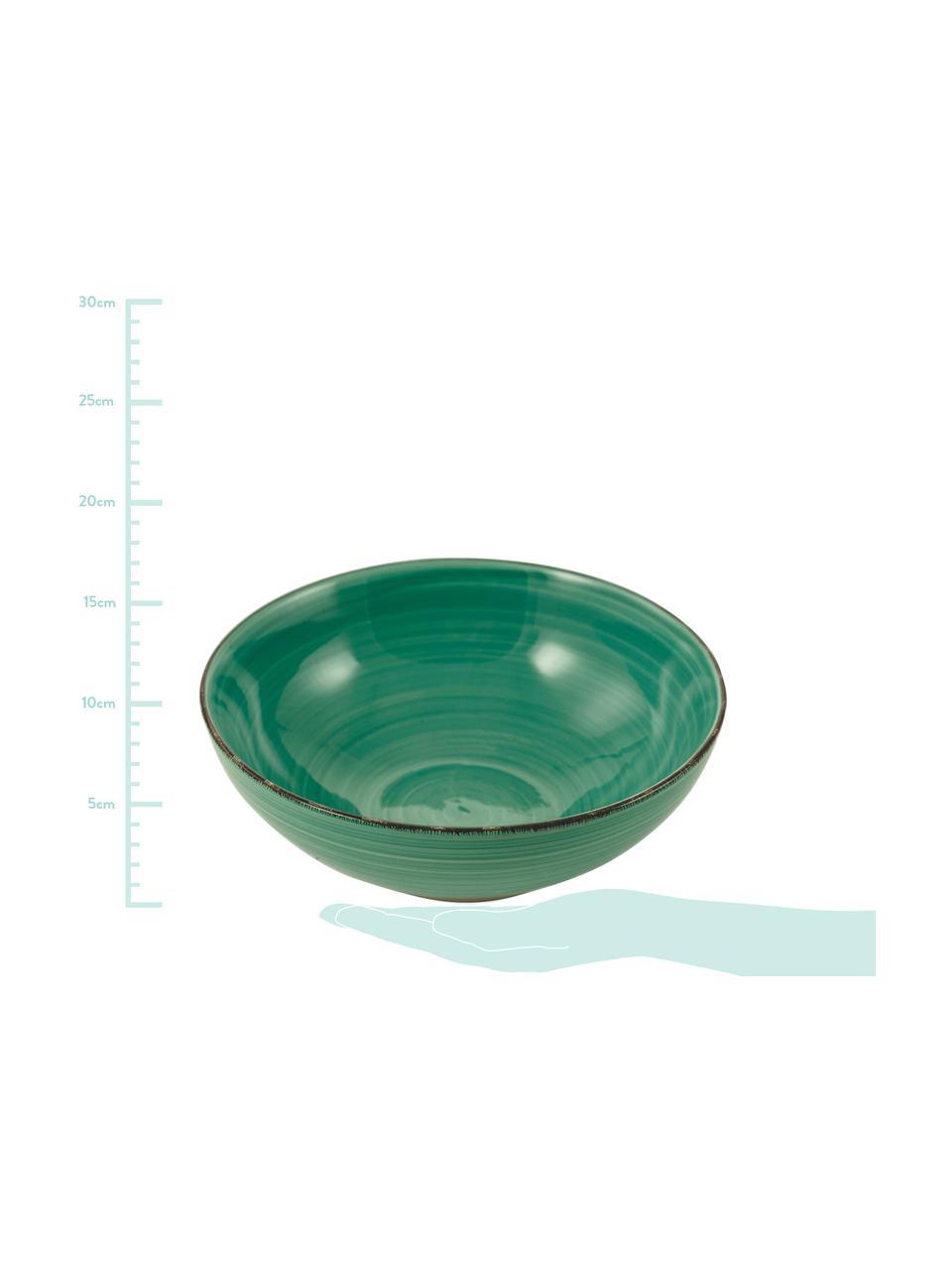 Handbemalte Servierschalen Baita in Grün Ø 26 und Ø 23 cm, 2er-Set, Steingut (Dolomitstein), handbemalt, Grün, Sondergrößen