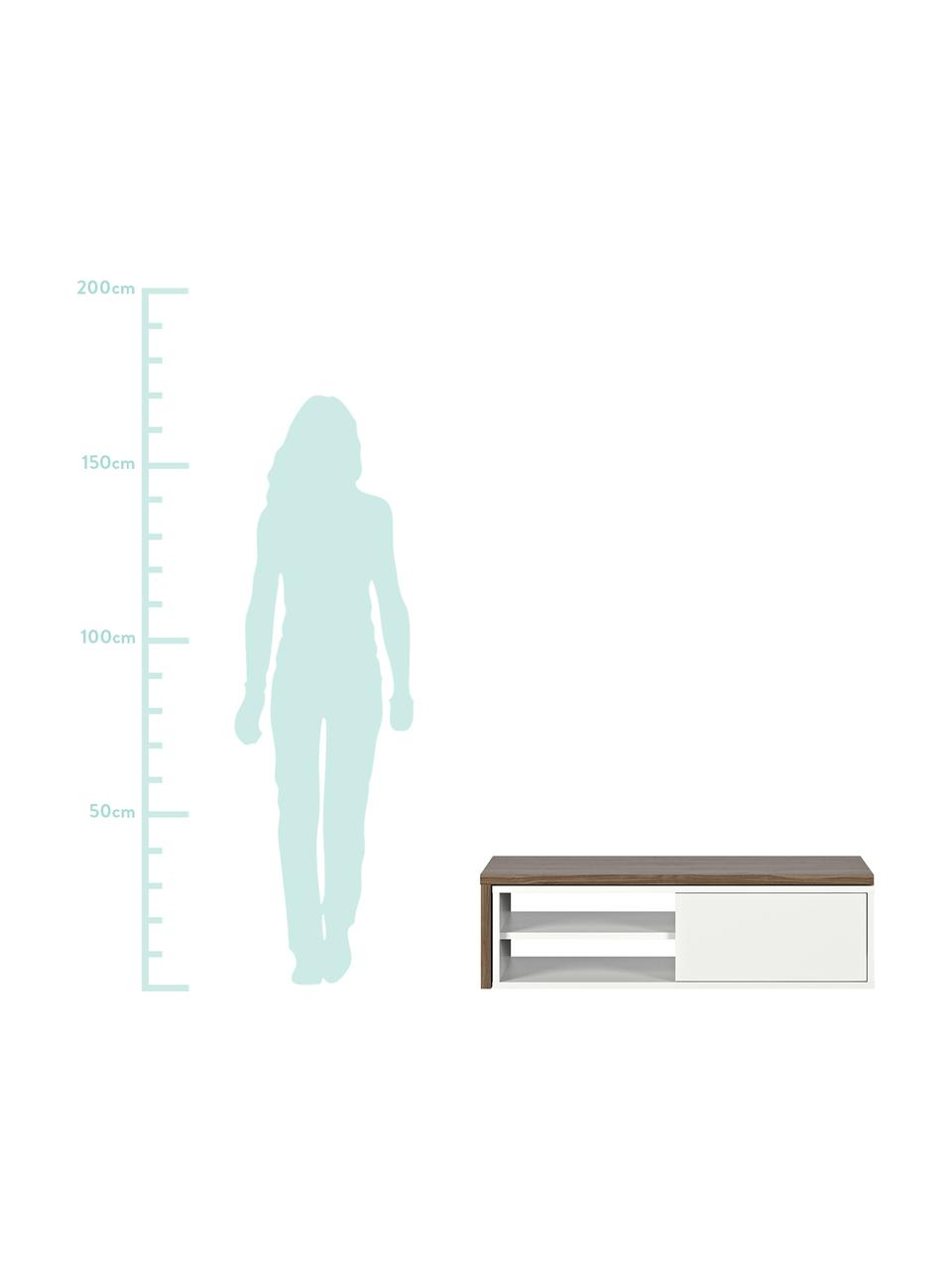 Ausziehbares TV-Lowboard Lieke mit Schiebetür, Auflageelement: Mitteldichte Holzfaserpla, Lowboard: Mitteldichte Holzfaserpla, Walnussholz, Weiß, 110 x 32 cm