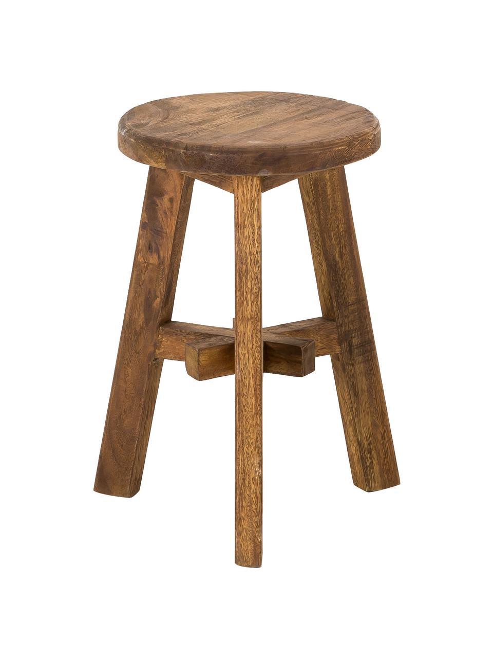 Stołek z drewna tekowego Dingklik, Drewno tekowe barwione, Drewno tekowe, ciemnybrązowy barwiony, Ø 35 x W 50 cm