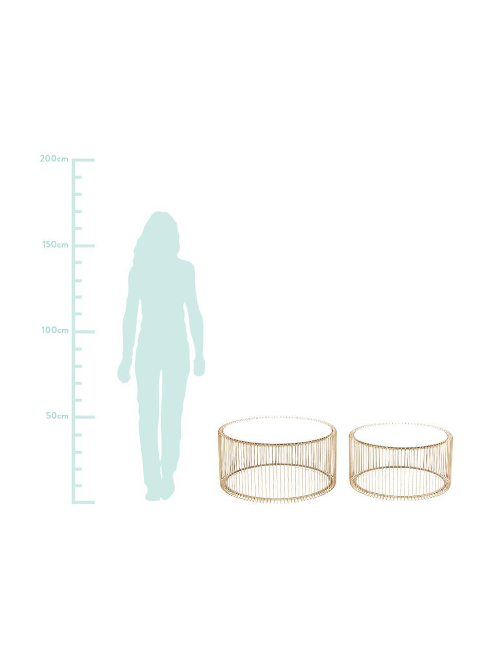 Set 2 tavolini da salotto con piano in vetro Wire, Struttura: metallo verniciato a polv, Piano d'appoggio: vetro temperato, Ottonato, Set in varie misure