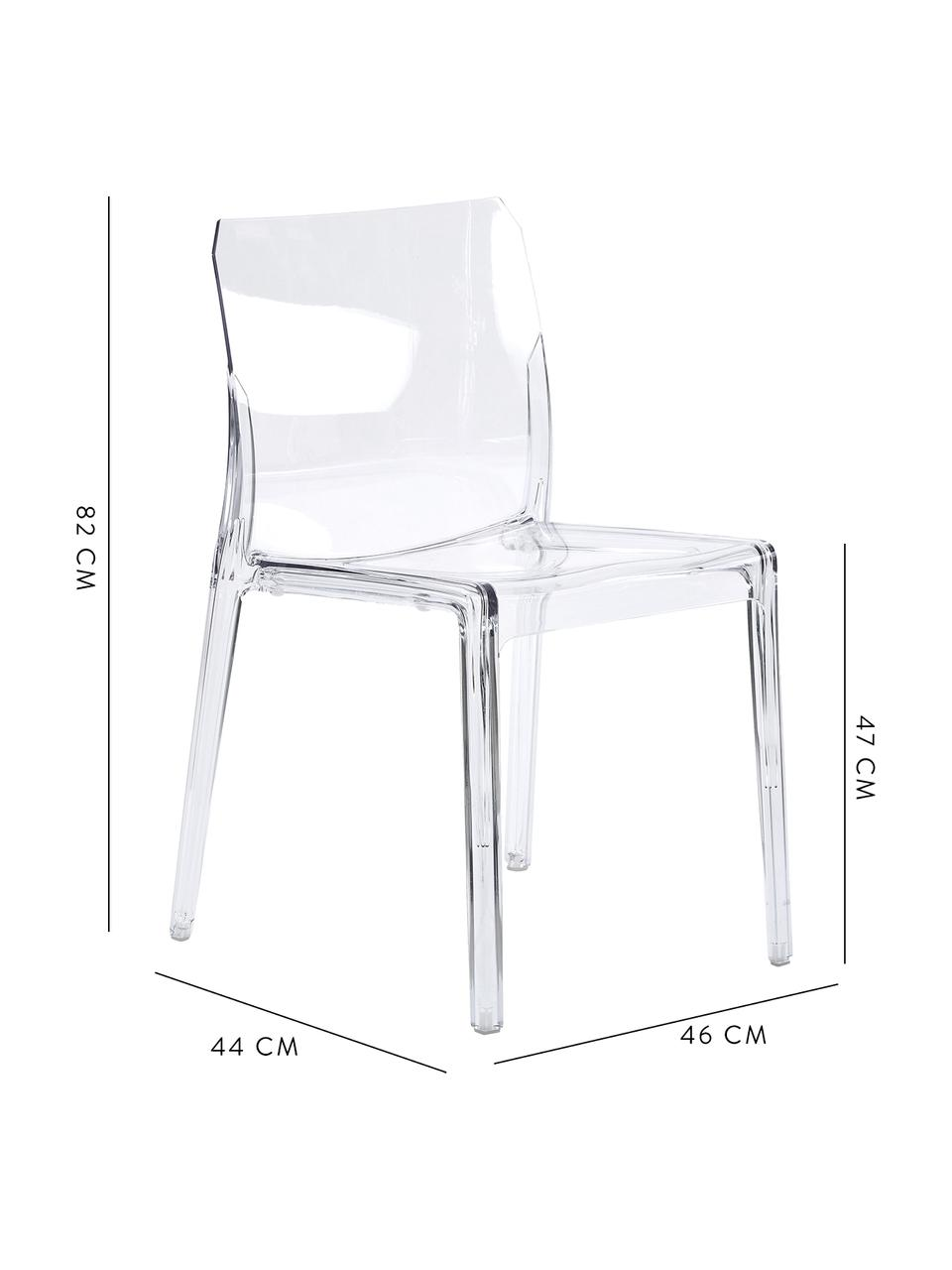 Transparenter Gartenstuhl aus Kunststoff, Kunststoff (Polycarbonat), Transparent, B 46 x T 44 cm