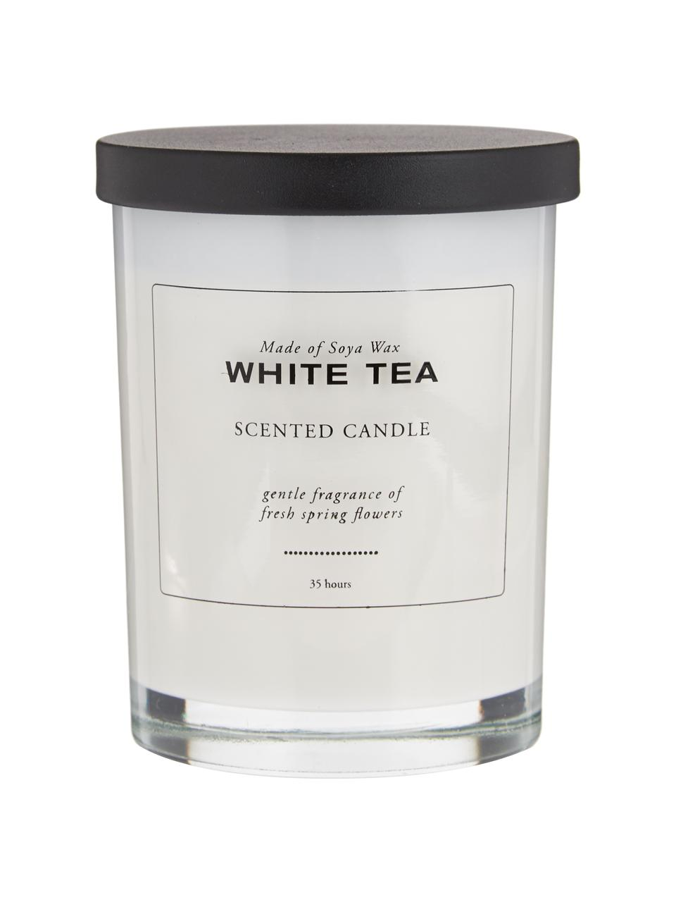 Geurkaars White Tea (witte thee), Houder: glas, Deksel: hout, Wit, zwart, Ø 8 x H 10 cm