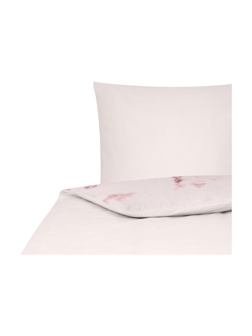 Pościel z perkalu Malin, Wzór marmurowy, różowy, 135 x 200 cm